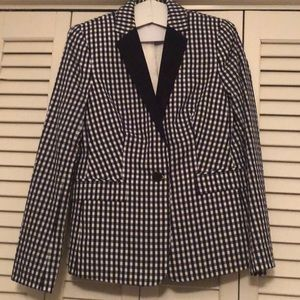 JCrew women's navy blue/white print blazer